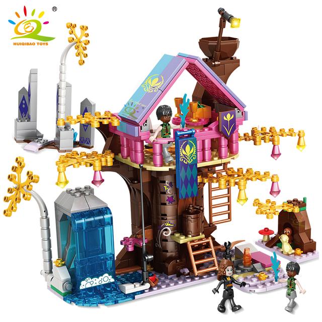 HUIQIBAO 526pcs Girl series Tree House Building Blocks Friends Princess Home City Architecture Bricks set Toys for Children gift