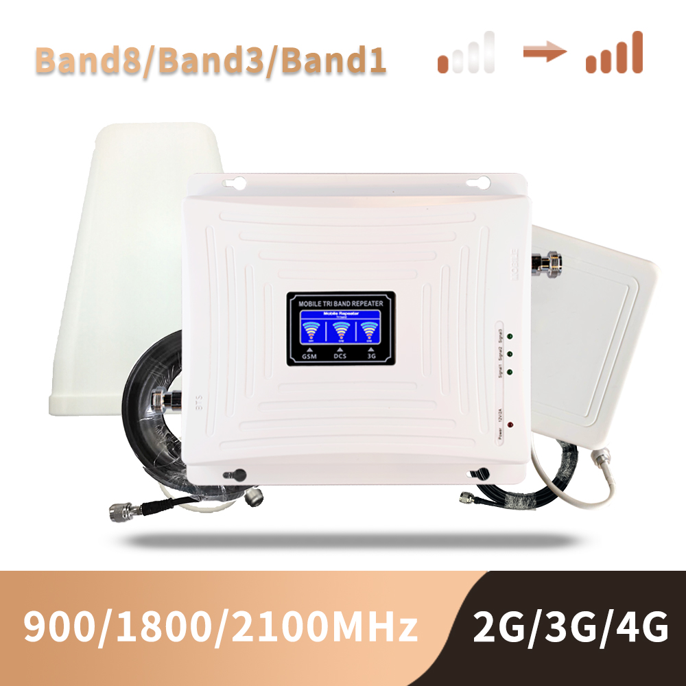 2g 3g 4g Cellular Signal Booster Gsm 900 1800 2100 GSM WCDMA UMTS LTE Cellular Repeater 900/1800/2100mhz Amplifier