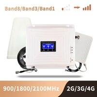 2g 3g 4g hücresel sinyal Booster Gsm 900 1800 2100 GSM WCDMA UMTS LTE hücresel tekrarlayıcı 900/1800/2100mhz amplifikatör
