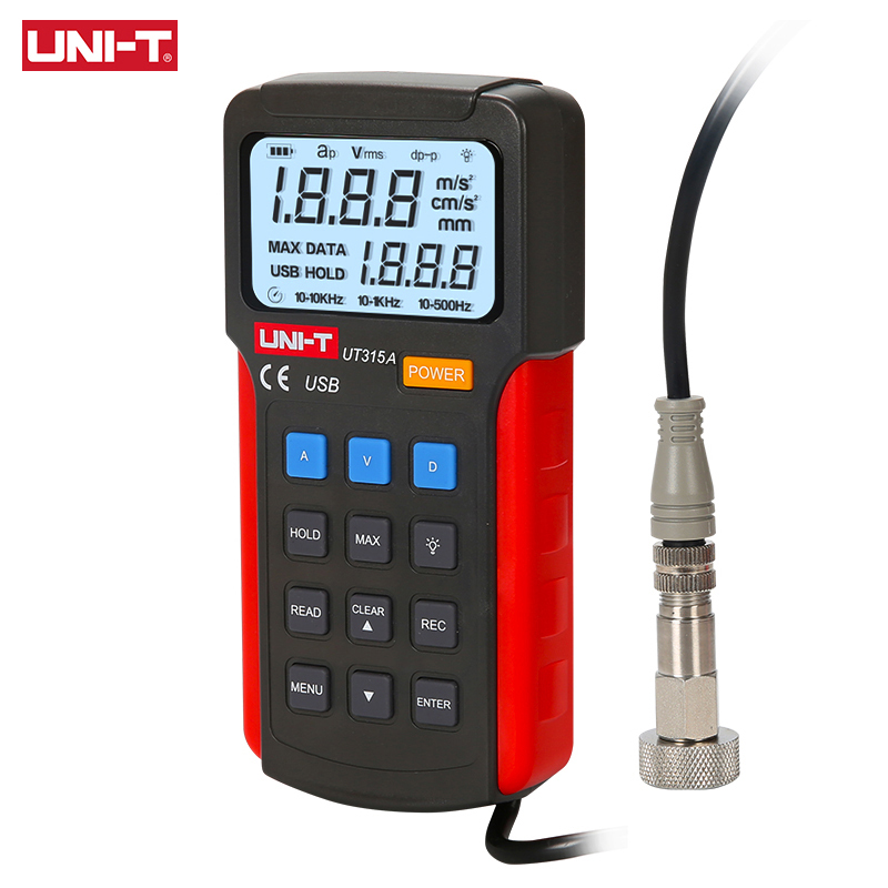 UNI-T UT315A Industrial Digital Vibration Meter Device Probe Vibration Analyzer Precision Measure Vibrator Tester Handheld