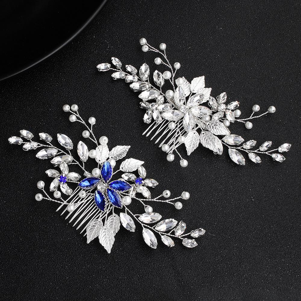 Simple Bridal Hair Accessories Blue Diamond Hair Comb Bridal Hair Comb Wedding Dress Accessories