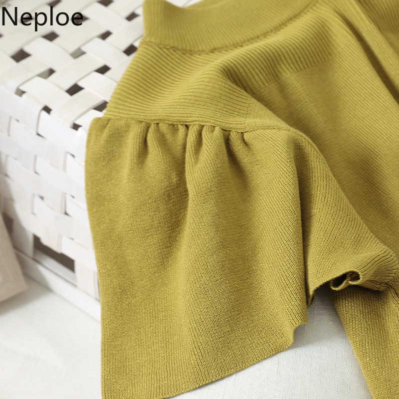 Neploe suéter vintage feminino de manga bufante, gola redonda, manga curta, vintage, 2020