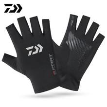 New Daiwa Fingerless Gloves for Men Women UV Sun Protection Half Finger Fishing Glove for Fishing Paddling Sailing Rowing Hiking
