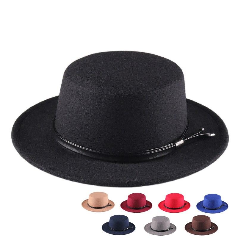 Women's hat fedoras Men's autumn Winter felt  with chain black designer chapel beach warm panama Wedding picture hat fashion new