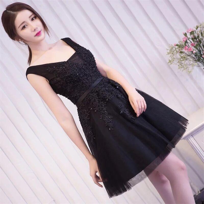Горячая Распродажа, Коктейльные Вечерние платья, короткое, Vestido de Festa, Мини сексуальное платье с аппликацией, v-образным вырезом, бисером и жемчугом - Цвет: Черный