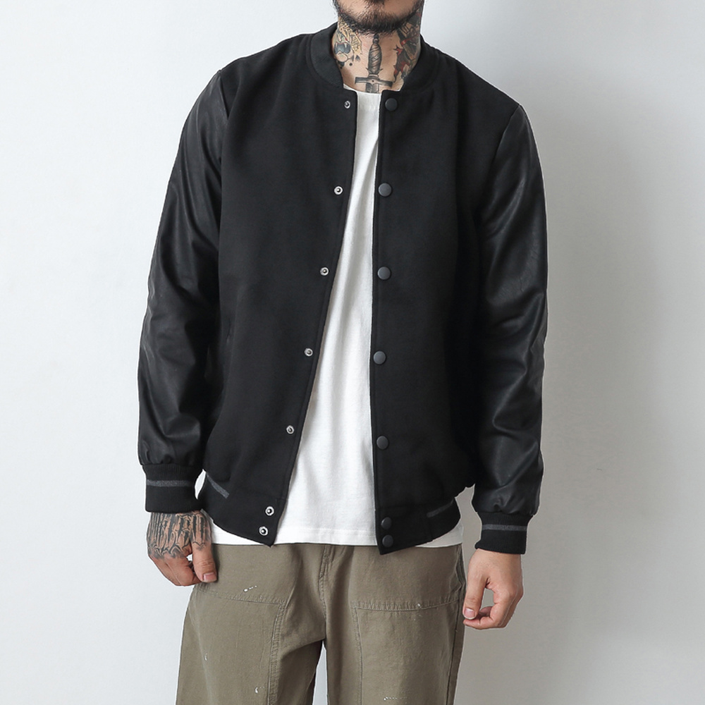 Mens Bomber Jackets Pu Leather Patchwork Autumn Casual Baseball Coats College Hip Hop Kanye West Man Outerwear Big Size M-5XL