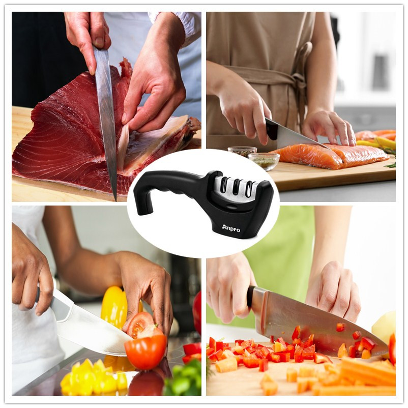 1PC 3 Stages Professional Knife Sharpener Tool Kitchen Sharpening Knives Stone Ceramic Tungsten Steel Knife Grinder
