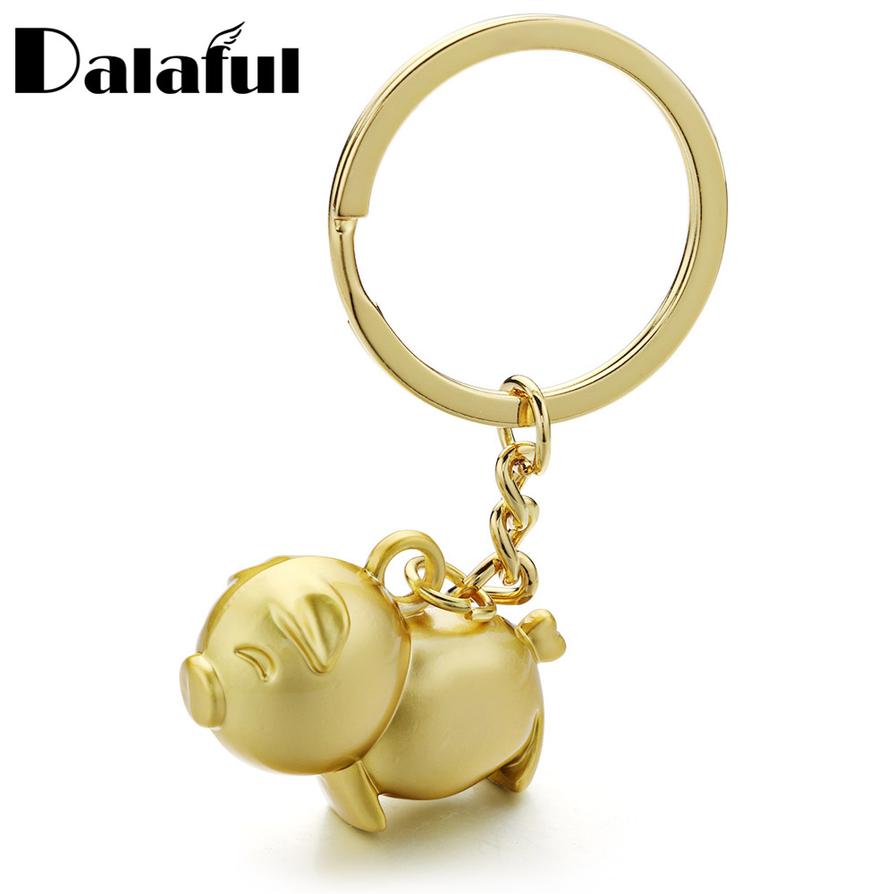 Dalaful Cute Pig Keychains Metal Trendy Gold-color Key Ring Chain Anime Pendant Keyrings Gifts For Men Women For Car K385