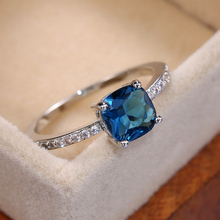 Women Rings Stone Square Pinky-Accessories Engagement Blue-Series Minimalist Elegant
