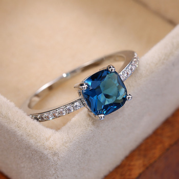 Huitan Square Blue Series Stone Women Rings Simple Minimalist Pinky Accessories Ring Band Elegant Engagement Jewelry Rings 1