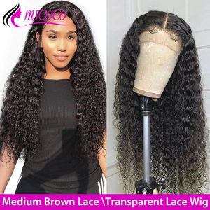 HD Lace Wig Deep Wave Lace Front Human Hair Wigs Transparent Lace Wigs 180 200 250 Density Remy Brazilian Curly Human Hair Wig(China)