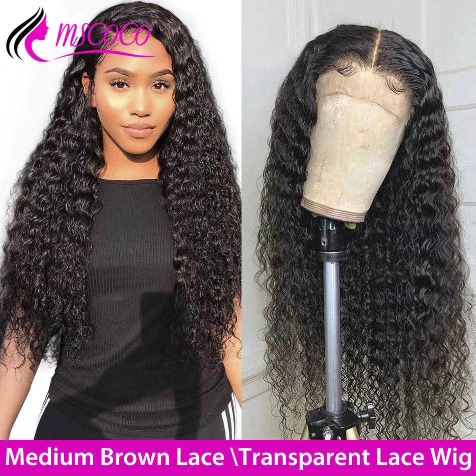 Mscoco de la onda profunda de la peluca del pelo humano del frente del cordón pelucas Pre arrancado 360 peluca Frontal de encaje 150 180 densidad 250 profundo rizado Peluca de cabello humano