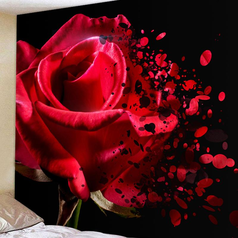 Beautiful Romantic Rose Tapestry Lover Hotel Landscape Tapestry Rectangle Home Decoration Accessories Living Room Bathroom Decor
