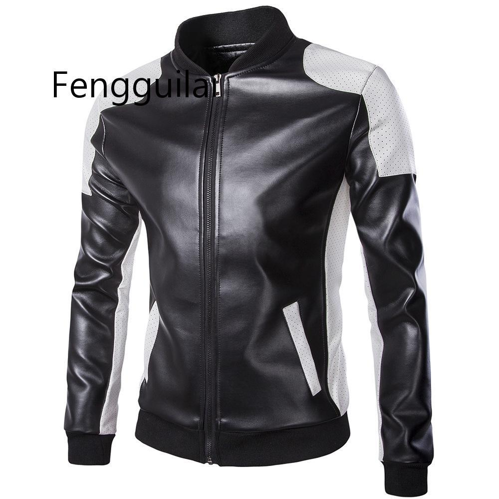 Autumn Men Leather Jacket Fashion Black White Patchwork Windproof PU Jacket Casual Men Stand Collar Zipper Bomber Coat Outerwear
