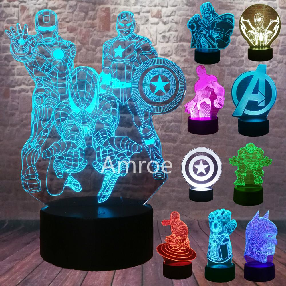 Marvel Legends The Avengers Endgame Logo Spiderman Captain America Ironman Thanos Figuras Action 7 Color Change Night Light Gift