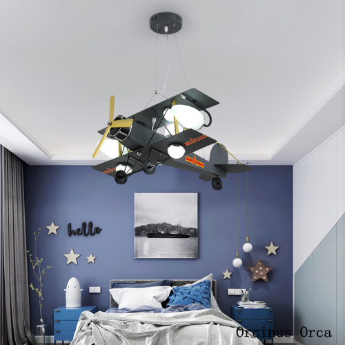 Cartoon Creative Color Fighter Boys'Bedroom Children's Room Light Modern Simple LED Iron Aircraft Hanging Light|Pendant Lights| |  - title=