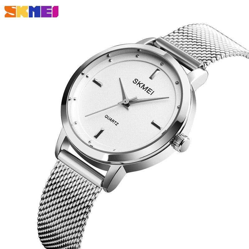 Fashion Women's Watch Stainless Steel Quartz Wristwatch Simple Design Womens Watche Ladies Casual Dress Bracelet Top Brand SKMEI