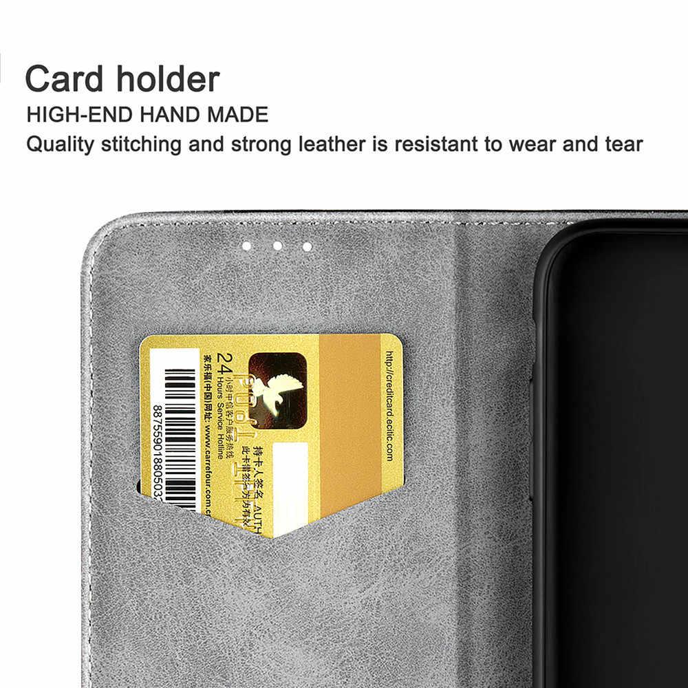 Luxo couro do plutônio caso capa carteira para iphone 11 pro x xs max xr 8 plus 7 6 s 5 5S se flip book negócios iphone11 coque funda capa caso de telefone magnético retro