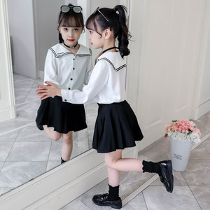 Image 4 - Conjuntos universitarios para niñas otoño océano uniformes escolares de manga larga faldas de camisa de dos piezas uniformes de la Marina para niños ropa