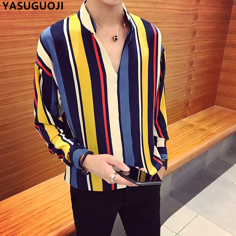 YASUGUOJI New Autumn Fashion Contrast Color Vertical Stripe V-neck Long Sleeve   Polo   Shirt Men Chemise Homme Men's Loose Clothing