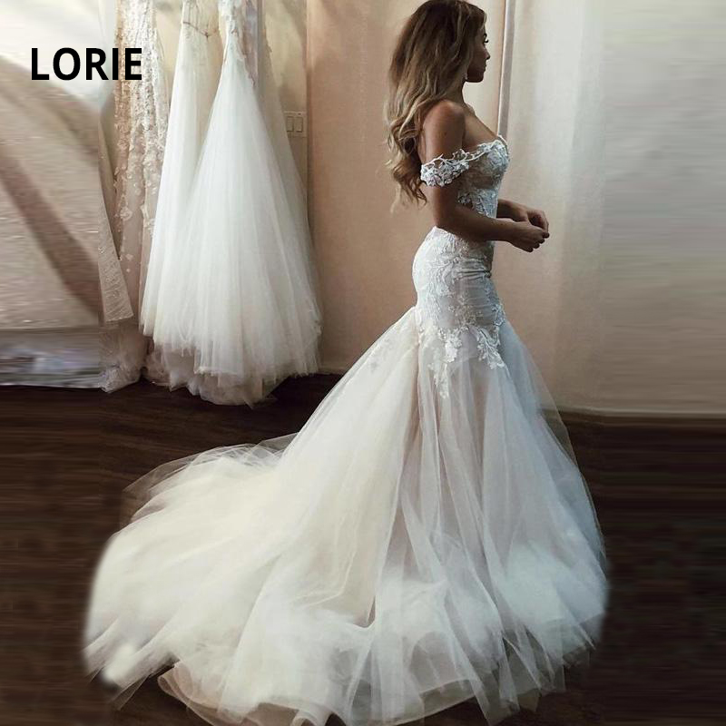LORIE Sexy Open Back Mermaid Wedding Dress For Women 2019 Off The Shoulder Soft Tulle With Lace Appliqued Bridal Gown With Train