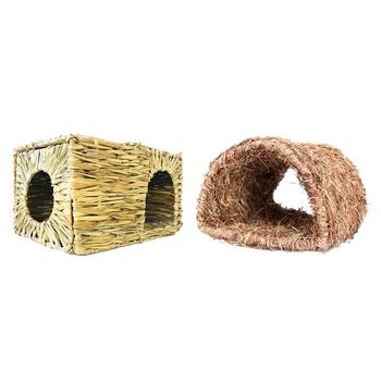 3 sztuk zabawka dla zwierząt domowych 2 sztuk słomy dom ze słomy otworzyć składana zabawka dom i 1 sztuk trawy dom tunelu Hutch tkane Hut tanie i dobre opinie CN (pochodzenie) Pranie ręczne
