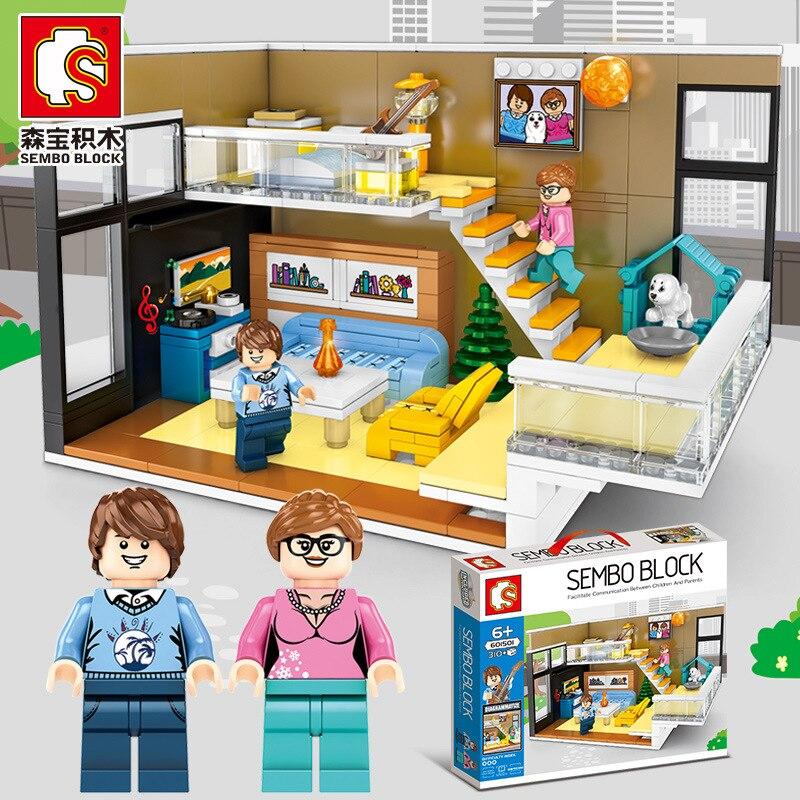Sembo Blocks Moc Home Corner Building Bricks Living Room Juguetes Model Bed Room Toys For Children Kids Christmas Gifts 601501
