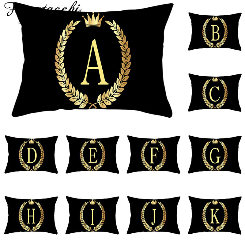 Fuwatacchi Black Rectangle Cushion Covers Crown Printed A-Z Alphabet Pillowcases For Home Sofa Decorative Pillow Covers 30*50cm