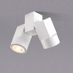 Потолочный светильник с двойными точечными светодиодными лампами, сменный, GU10, для кухни, гостиной, квадратный светильник, освещение для до...