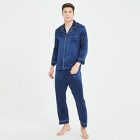 Silk Sleepwear Men's 100% Silk Long Sleeve Long Pants Set Men's Comfortable Leisure Tops mens pyjama mansleepwear men nightwear