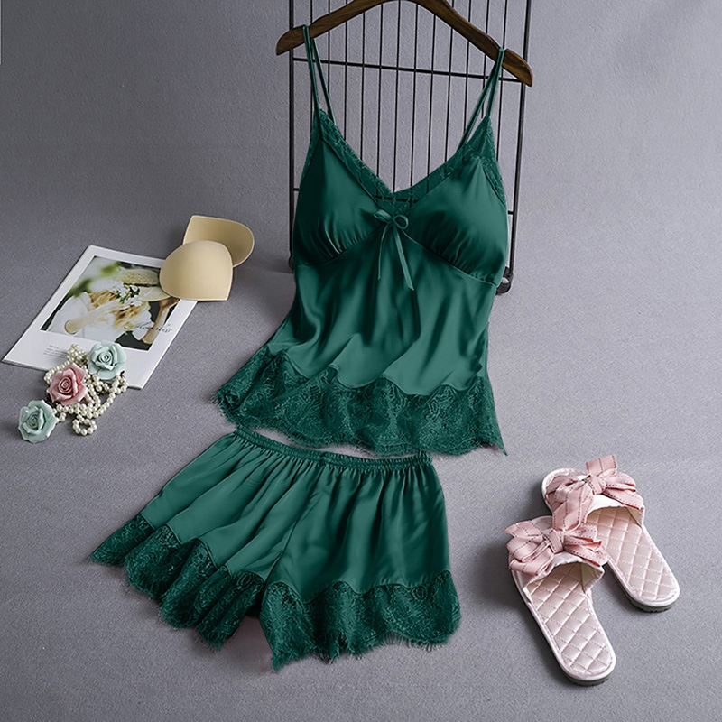 Spring Sleeveless Sleepwear Set Negligee Set Sexy Satin Sleepwear Women Flower Silk Padded Lingerie Sets Female
