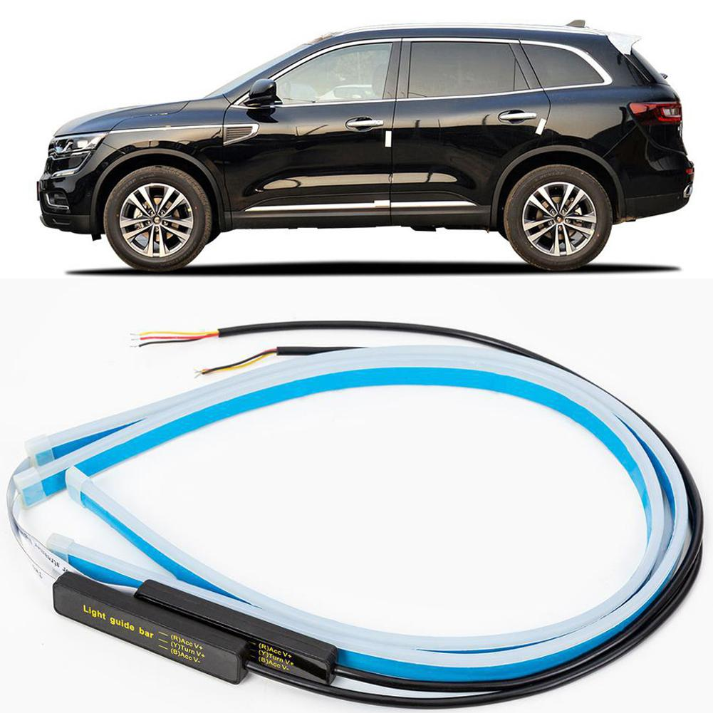 Ultrafine Cars LED Daytime Running Lights White Turn Signal Yellow Guide Strip For Headlight Assembly Automobile Decoration Lamp