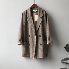 2020 Autumn Suits Blazer Jacket Women Checks Pattern Coat Casual Loose Clothes Vintage Classic Tops Female Plaids Suit Blazers