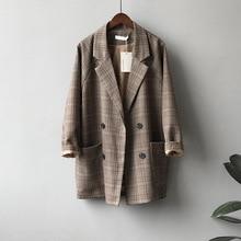 2020 Autumn Suits Blazer Jacket Women Checks Pattern Coat Ca