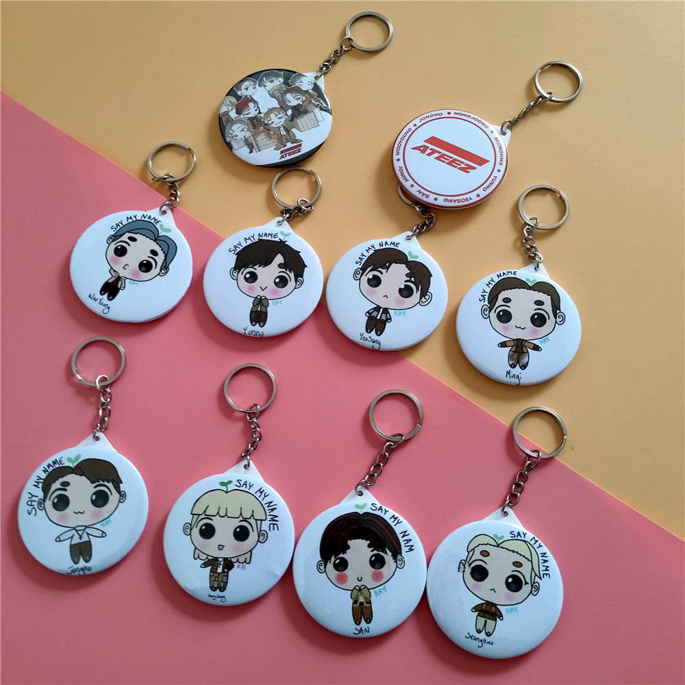 KPOP Ateez Cartoon Keychain Key Ring Pendant Mirror ATINY Jong Ho Woo Young Kpop Ateez Key Chain New Arrivals
