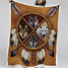 BlessLiving Wolves Dreamcatcher Fleece Blanket Wolf Reversible Sherpa Throw Blanket on the Bed Wild Animal Tribal 150x200(China)
