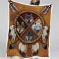 Blesslife волки Ловец снов Флисовое одеяло волк Реверсивный шерпа пледы одеяло на кровать диких животных племени 150x200