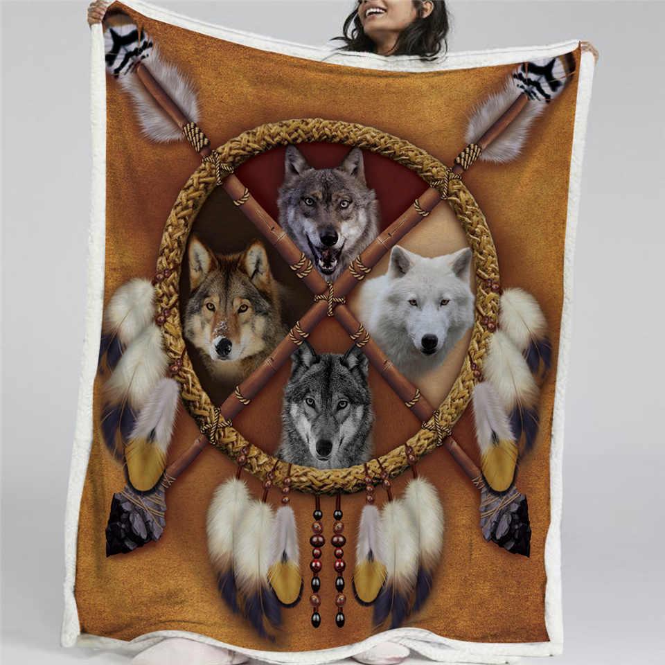 Blesslive волки Ловец снов Флисовое одеяло волк двусторонний шерпа пледы одеяло на кровать диких животных Племенной 150x200