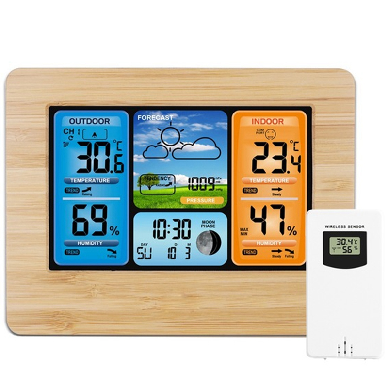 Digital Weather Station Thermometer Hygrometer Barometer Wireless And Sensor Lcd Monitor Weather Forecast Indoor And Outdoor Clo