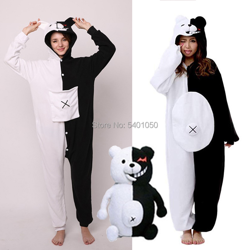 Hot Anime Danganronpa Monokuma Cosplay Pajama Adult Unisex Onesie Kumamon Monokuma Gloomy Bear Sleepwear Pyjamas|Anime Costumes|   - AliExpress