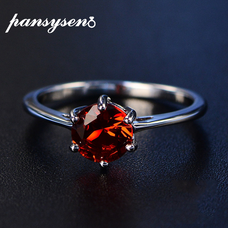 PANSYSEN Ruby Gemstone Rings For Women 100% Genuine 925 Silver Party Engagement Birthday Fine Jewelry Ring Wholesale 8 colors