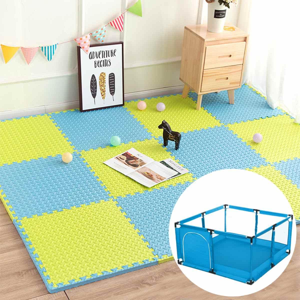 16Pcs 30x30x1.2cm Interlocking Puzzle Mat Soft EVA Foam Tiles Leaf-Pattern New Kids Play Carpet Home Floor For Baby Playpen