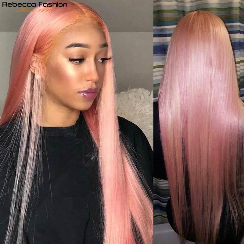 Perucas de cabelo humano cor-de-rosa peruca remy peruano peruca do laço transparente perucas de cabelo humano colorido 4x4 fechamento