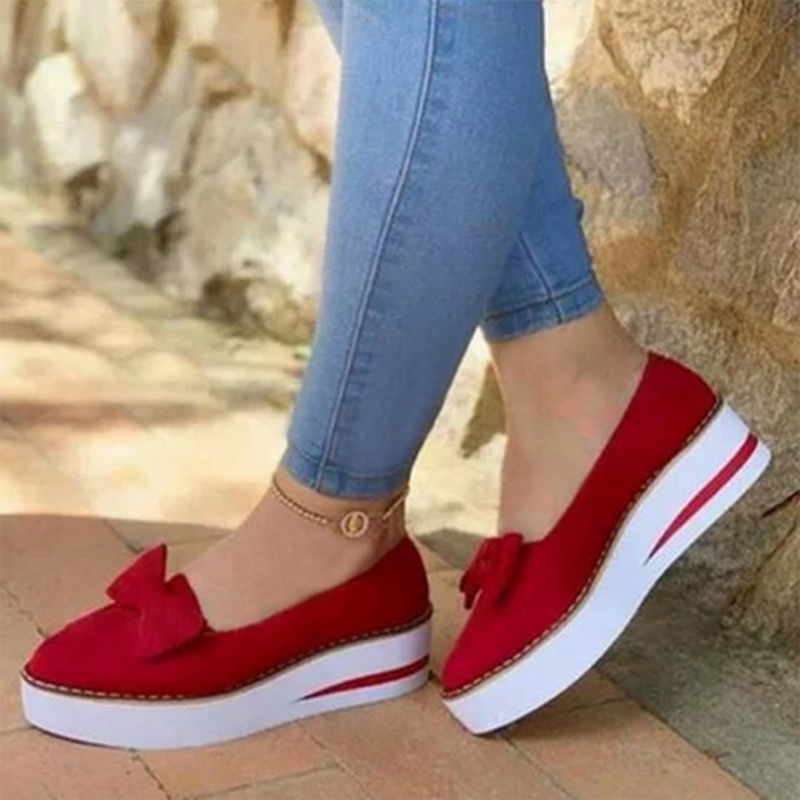 SHUJIN Spring Women Flats 2020 Shoes Slip On Casual Ladies Canvas Shoes Bow Thick Bottom Lazy Loafers Female Espadrilles Flat|Women's Vulcanize Shoes| - AliExpress
