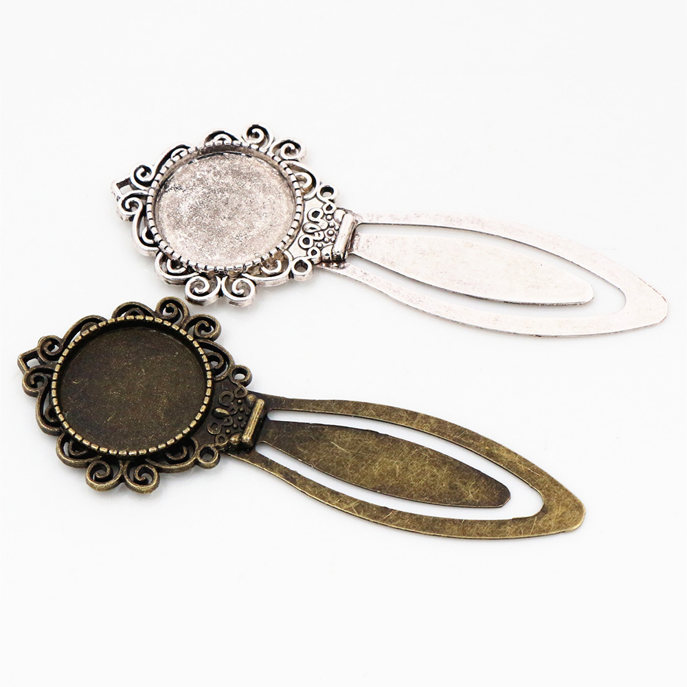 New Fashion 2pcs 20mm Inner Size Antique Silver Plated Antique Bronze Simple Handmade Bookmark Cabochon Base  Cameo Setting