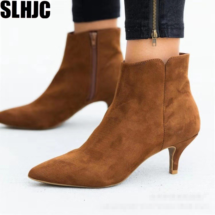 SLHJC Women Autumn Boots Med Spike Heel Pointed Toe Side Zip Short Ankle Boot Plus Size Female Modern Classic Leopard Pumps