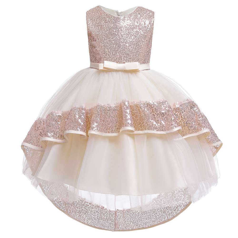 2019 Cross Border For New Style Children Gauze Sequin Tailing GIRL'S Gown Europe And America Puffy Princess Catwalks Service