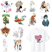 Phoenix Iron On Transfers Patches Fashion Girl Stickers For Stripes Clothes DIY Print on T-shirt Dresses Thermal Applique E