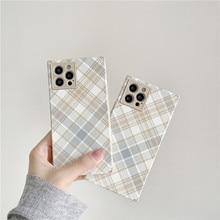 For iPhone 12 Pro Case Retro Lattice Square Phone Case For iPhone 12 Mini 11 Pro Max XR XS Max 7 8 Plus Soft IMD Cover Coque