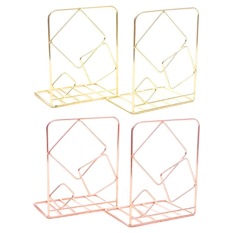 2pcs Square <font><b>Metal</b></font> Desktop Bookends <font><b>Book</b></font> Ends Support <font><b>Stand</b></font> Holder Shelf Bookrack Q6PA image
